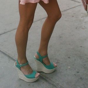 Turquoise  mint colored wedges